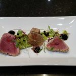 Sesame Tuna with Advocado Puree and Soy Gel